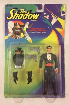 The Shadow Transforming Lamont Cranston Action Figure Snap-on Shadow Armor #Kenner
