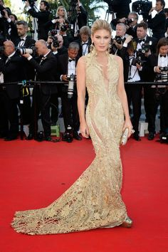 Hofit Golan wore a gorgeous Gaurav Gupta gown at the premier of 'Mr Turner' at the 67th Annual Cannes Film Festival, 2014.
