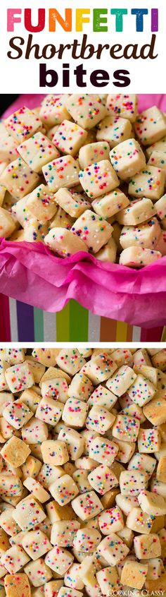 Shortbread Bites - Crisp and buttery, rainbow speckled mini shortbread squares. These are fun to make and everyone always loves them! Just Desserts, Delicious Desserts, Yummy Food, Tasty, Yummy Treats, Sweet Treats, Cookie Recipes, Dessert Recipes, How Sweet Eats