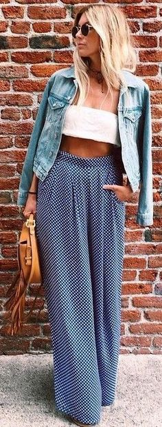 Polka dots + crop top.