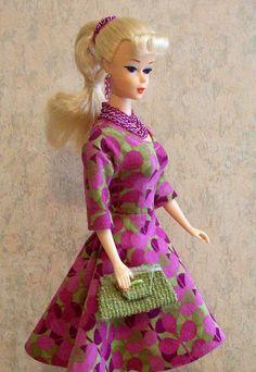 Handmade retro mod Mad Men Eames Era dress fashion for Vintage Barbie or Silkstone