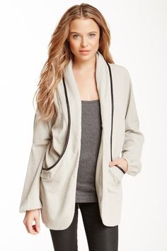 """ASTARS Diamond Ribbed Jacket by ASTARS  About This Item - Shawl collar - Open front - Long sleeves with elasticized cuffs - 2 front pockets - Contrast piping throughout - Ribbed construction - Approx. 30"""" length - Made in USA $176"""