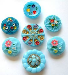7 Vintage Enamel Painted Floral Turquoise Glass Buttons