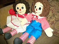Raggedy Ann and Andy Dolls Vintage Hand Crafted by TKSPRINGTHINGS