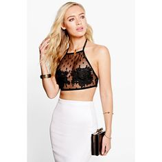 Boohoo Night Alice Spot Mesh Applique Crop Top ($20) ❤ liked on Polyvore featuring tops, black, off the shoulder crop top, sequin evening tops, bralette crop top, bralette tops and mesh crop top