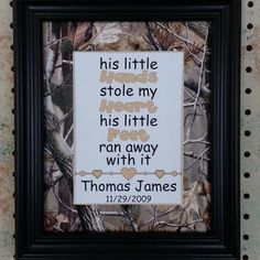 Personalized 5x7 Glossy Print His Little Hands Matted to 8x10 Realtree Hunting Theme AP Camo Baby Boy Shower Nursery Newborn Infant Gift
