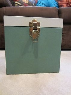 "Vintage Metal 45 RPM Record Carrying Case With Handle 8"" X 8"" X 8"""