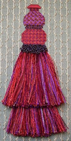 Tantalizing Tassels Needlepoint by Meredith Willett - Design Nice background stitch. Needlepoint Stitches, Needlepoint Patterns, Needlepoint Canvases, Embroidery Stitches, Needlework, Broderie Bargello, Textiles, Fabric Decor, Sewing Crafts