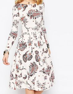 Image 3 of ASOS Midi Dress In Paisley Print