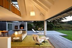Spotted from the crow's nest: Beach house tour- New Zealand modern coastal beach house Beach House Tour, Indoor Outdoor Living, Outdoor Spaces, Outdoor Decor, Outdoor Fire, Architecture Details, Space Architecture, My Dream Home, House Tours