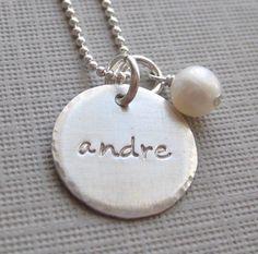 Hand Stamped Jewelry  ONE NAME Charm  by jcjewelrydesign