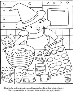 Halloween coloring picture baking witch