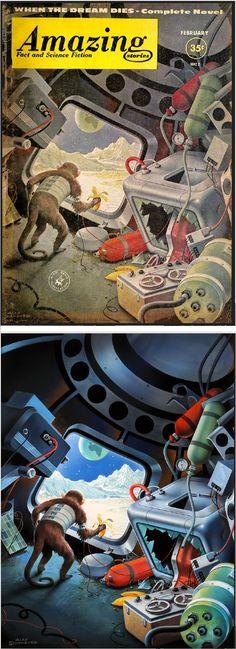 ALEX SCHOMBURG - art for Amazing Stories - February 1961