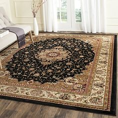 Safavieh Lyndhurst Collection LNH329A Black and Ivory Square Area Rug 6 feet Square 6 Square *** Be sure to check out this awesome product.