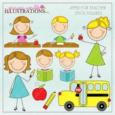 Apple para profesor monigotes lindo Gráfico por JWIllustrations