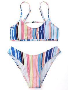 e82619ee93778 Padded Striped Cami Bikini Set