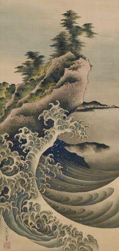 "japaneseaesthetics: ""Breaking Waves. Painting. 1847, Japan, by artist Katsushika Hokusai . Gift of Charles Lang Freer . Freer Gallery of Art and Arthur M. Sackler Gallery """