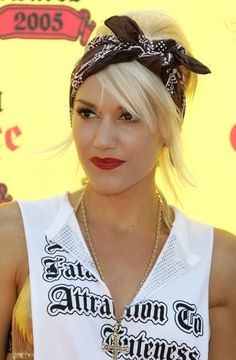 A messy high fashion bun with a bandana wrap ~ Gwen Stefani