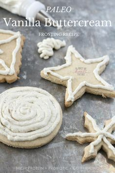 Tired of frosting recipes that don't hold up & not willing to gobble down gobs of sugar? Try this vanilla buttercream frosting, with protein & probiotics! Paleo Recipes Easy, Primal Recipes, Whole Food Recipes, Free Recipes, Drink Recipes, Delicious Recipes, Cookie Recipes, Paleo Cookies, Paleo Treats