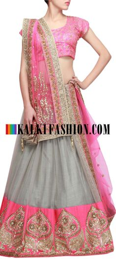 Buy Online from the link below. We ship worldwide (Free Shipping over US$100) http://www.kalkifashion.com/grey-lehenga-featuring-with-sequence-work-only-on-kalki.html Grey lehenga featuring with sequence work only on Kalki