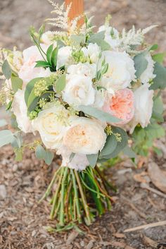 Bridal Bouquet, Peach, ivory, green. Juliet garden roses, ivory garden roses, astilbe, eucalyptus. Florals By Jenny The Ranch at Laguna Beach