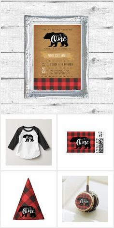 Wild one first birthday party | decoration invitations one year old bear lumberjack plaid boys rustic mountain modern wild one bday kids 1st