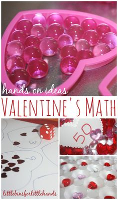Quick and simple Valentine's themed early learning math ideas to try with kids. Early learning math ideas include counting, patterning and graphing!