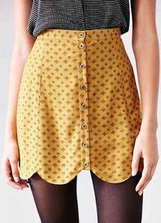 yellow scallop edge fall skirt