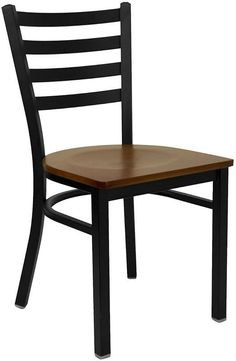 HERCULES Series Black Ladder Back Metal Restaurant Chair with Cherry Wood Seat XU-DG694BLAD-CHYW-GG by Flash Furniture