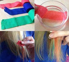 mechas de colores con papel crepe