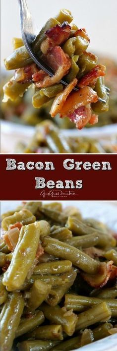 Bacon Green Beans Bacon Recipes, Side Dish Recipes, Vegetable Recipes, Cooking Recipes, Healthy Recipes, Healthy Food, Green Beans With Bacon, Green Bean Recipes, Vegetable Side Dishes