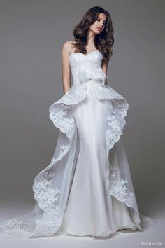 {Satin & Lace Strapless Wedding Gown Featuring Lace Peplum Overskirt by Blumarine 2015······}