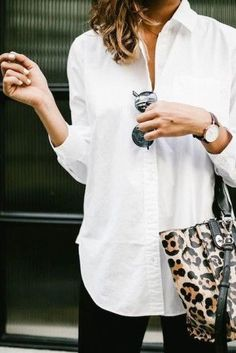 Love the idea of a really good classic white button up - not so much the animal print bag.