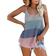 2020 new women summer camis t-shirt fashion casual splicing women shi – bodyconest Loose Tank Tops, Cute Tank Tops, Cami Tops, Summer Sweaters, Knitted Tank Top, Striped Tank Top, Knit Shirt, Shirt Dress, Couture