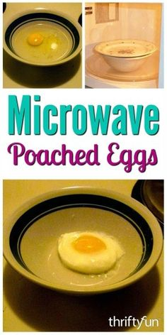 """""""There are several ways to make poached eggs, using the microwave is one option. This is a guide about making easy poached eggs in the microwave."""" Eggs Making Easy Poached Eggs in the Microwave Cook Egg In Microwave, Poached Eggs Microwave, Easy Poached Eggs, How To Make A Poached Egg, Microwave Recipes, Microwave Breakfast, Making Poached Eggs, Perfect Poached Eggs, How To Make Eggs"""