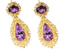 Georgian Gossamer Amethyst Cannetille Earrings, circa 1820.
