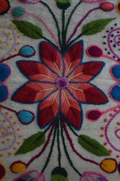 Hand Embroidered Pillow Cover, measures approximately 15x15. Note, due to the nature of this pillow being made to order, color will vary slightly.