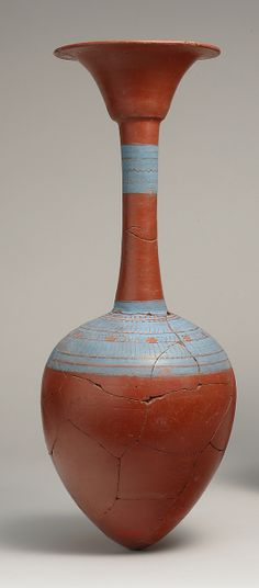 Water Bottle from Tutankhamun's Embalming Cache, New Kingdom, Dynasty 18, ca. 1336-1327 BC; Pottery, hematite wash, burnished, pigment; Gift of Theodore M. Davis, 1909 (09.184.83) Gallery 121