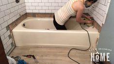 Sand Bathtub Before Painting It Tile Walk In Shower, Bathtub Shower Combo, Diy Bathtub, Clean Bathtub, Painting Bathtub, Bathtub Cleaning, Shower Tiles, Tile Refinishing, Small Bathroom
