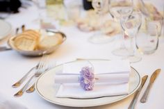 Beautiful table setting with small purple hydrangea flower. Groomswear by Louis Copeland & Sons. Photography by: Ros from Couple Photography. Beautiful Table Settings, Hydrangea Flower, Couple Photography, Florence, Real Weddings, Tuscany Italy, Table Decorations, Couples, Sons