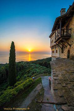 Sunrise at Karakallou Monastery at Mt. Athos - Macedonia, Greece