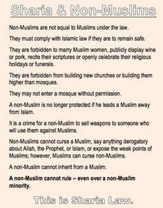"""Sharia Law & Non-Muslims. Look at the last bullet. Then think about """"Muslims for Obama."""""""