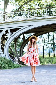 floral dress with straw hat
