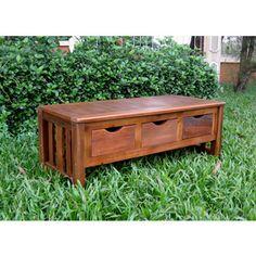 International Caravan Acacia 3-drawer Storage Bench