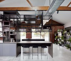 Design Studio is a minimalist space located in Melbourne, Australia, designed by Studio 103 Red Brick Walls, White Walls, Polished Concrete Flooring, Modern Apartment Design, Barn Living, Apartment Renovation, Old Farm Houses, News Studio, Studio Studio