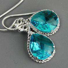 Sea Green Earrings  Teal Blue Green Crystal by MyDistinctDesigns, $24.00