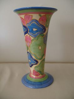 Clarice Cliff 9″ Blue Chintz pattern Trumpet Vase