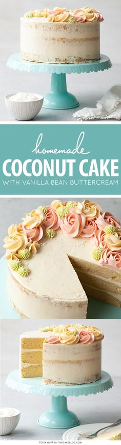 Homemade coconut cake with creamy coconut milk, brushed with coconut syrup to keep it extra moist, and topped with vanilla bean buttercream frosting. Brownie Desserts, Oreo Dessert, Mini Desserts, Just Desserts, Delicious Desserts, Frosting Recipes, Cupcake Recipes, Baking Recipes, Cupcake Cakes
