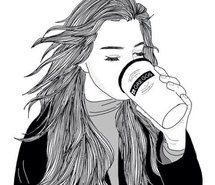 Inspiring image black and white, coffee, drawing, follow, girl, outline, outlines #3688055 by loren@ - Resolution 1080x1046px - Find the image to your taste