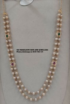 Jewelry OFF! 2 rows pure pearl chain with side lockets. Visit us for full range Pearl Necklace Designs, Jewelry Design Earrings, Gold Earrings Designs, Bead Jewellery, Pearl Jewelry, Jewelry Necklaces, Indian Jewelry, Pearl Bracelets, Pearl Rings